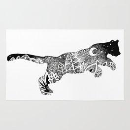 Black Panther Jungle, Hidden Scene, Moon, Stars, Jungle plants, Leaves Rug