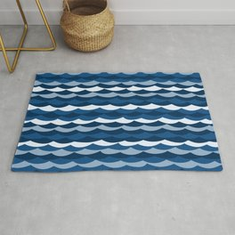 Classic Blue Wave Pattern Rug