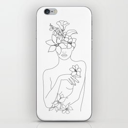 Minimal Line Art Woman with Flowers IV iPhone Skin