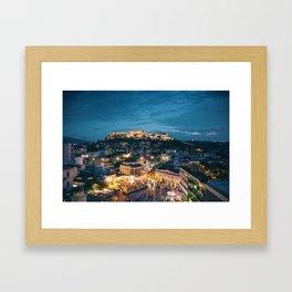 Athens Greece at Dusk Framed Art Print