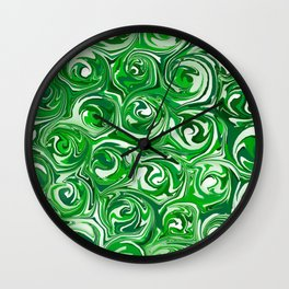 Emerald Green, Green Apple, and White Paint Swirls Wall Clock