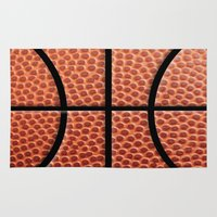 basketball Area & Throw Rugs featuring BasketBall Dreams by Jane Holloway Designs