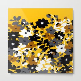 SUNFLOWER TOILE YELLOW GOLD BLACK GRAY AND WHITE Metal Print
