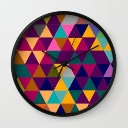 Multicolor triangle shapes pattern Wall Clock