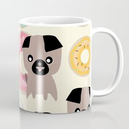 Pug and donuts beige Coffee Mug
