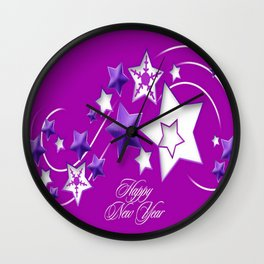 Fucshia and Purple Happy New Year Shooting Stars  Wall Clock