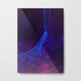 Synthwave Nebula #4: Sacred hexagon Metal Print