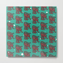 loony monkey pattern (red) Metal Print