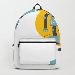 Robot Is Unplugged Need Recharge Electrical Starvation Flat Vector Character Backpack