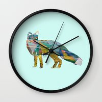 foxes Wall Clocks featuring Foxes by nessieness