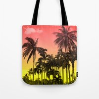 tropical Tote Bags featuring palm tree  by mark ashkenazi