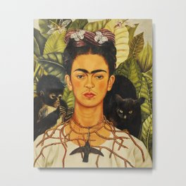 Frida Kahlo Self-Portrait Thorn Necklace and Hummingbird Metal Print