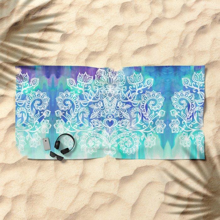 Indigo & Aqua Abstract - doodle painting Beach Towel