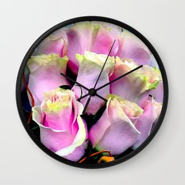 Soft Pastel Pink Gentle Rose Buds Floral Bouquet Wall Clock