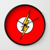 the flash Wall Clocks featuring Flash by Merioris