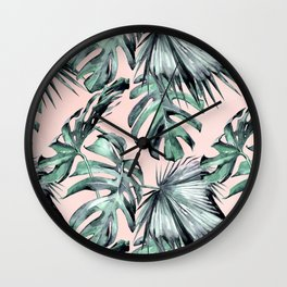 Island Love Coral Pink + Green Wall Clock