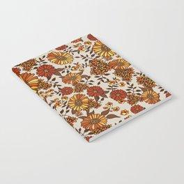 Retro 70s boho hippie orange flower power Notebook
