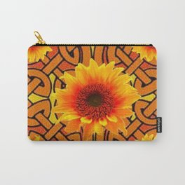 Brown & Gold Celtic Sunflowers Garden Design Pattern Carry-All Pouch