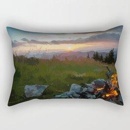 carpathian mountains mountain romanian night fire Rectangular Pillow