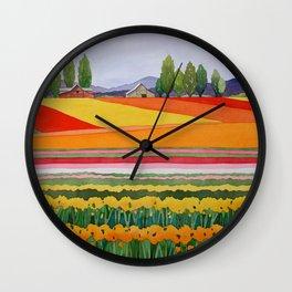 Skagit Valley Tulips Wall Clock
