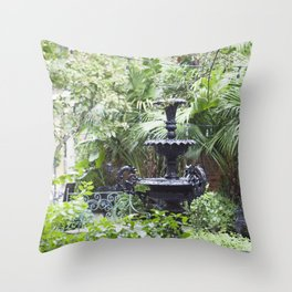 New Orleans Cafe Fountain Throw Pillow