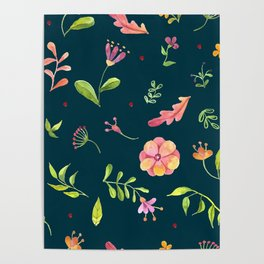 Watercolor Summer Flower Pattern Poster