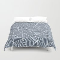 Ab Lines Navy and White Duvet Cover