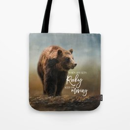 Grizzly On The Rocks Tote Bag