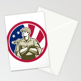 American Carpenter USA Flag Icon Stationery Cards