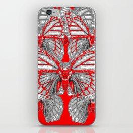 RED-GREY MONARCH BUTTERFLIES ABSTRACT ART iPhone Skin