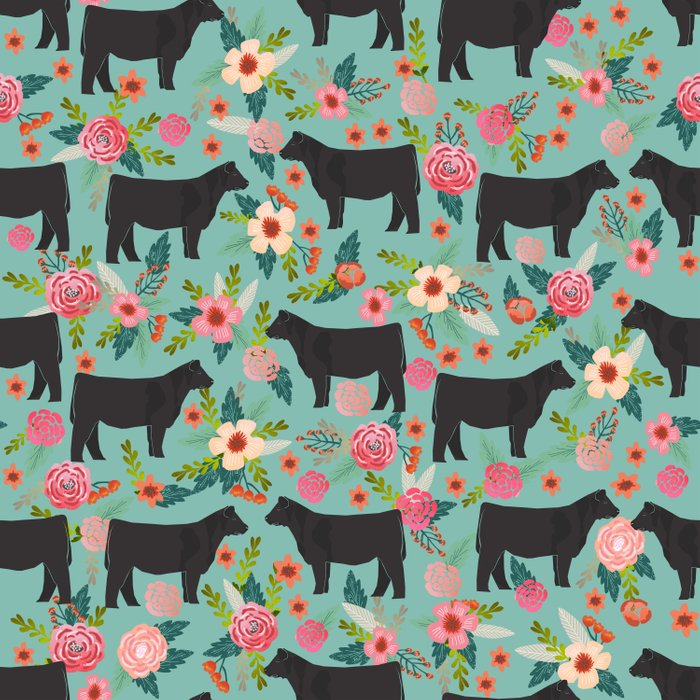 Show Steer cattle breed floral animal cow pattern cows florals farm gifts Comforters