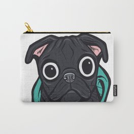 Black Pug Hoodie Carry-All Pouch