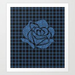 Blue patchwork , rose Art Print