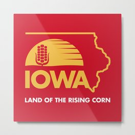 Iowa: Land of the Rising Corn - Red and Gold Edition Metal Print