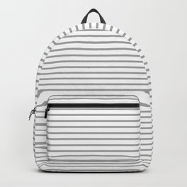 Grey Pinstripe Design On White Background Backpack