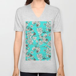 Modern teal brown white abstract floral Unisex V-Neck