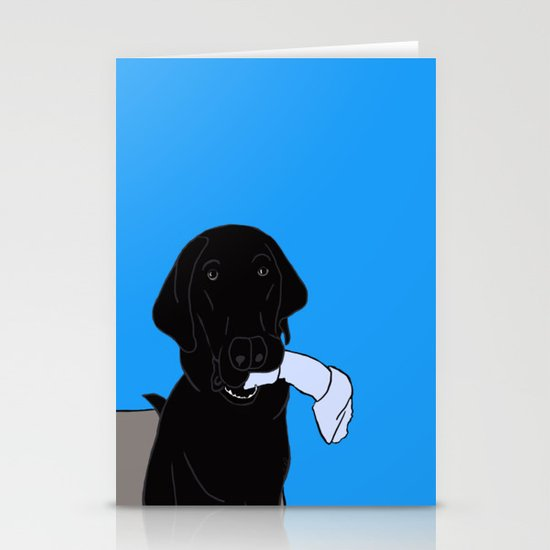 Black Lab With A Bone by melindatodd