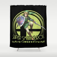super smash bros Shower Curtains featuring Link - Super Smash Bros. by Donkey Inferno