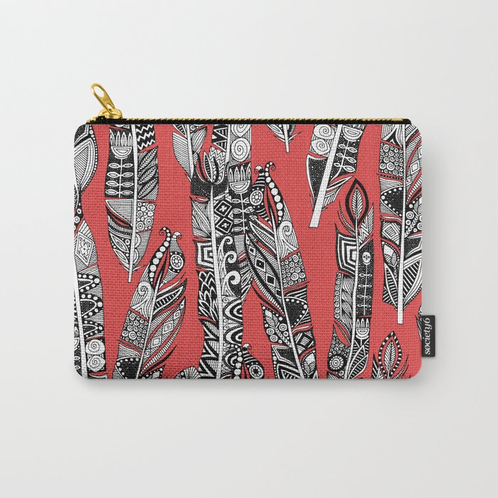 geo feathers red Carry-All Pouch