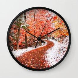 Autumn meets Winter  Wall Clock