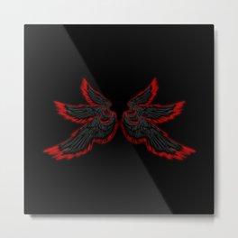Black Red Archangel Wings Metal Print