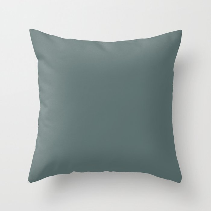 Colors of Autumn Dark Pastel Blue Solid Color Throw Pillow