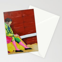 The Sad Bullfighter El Torero Triste Oleo Original sobre Lienzo Juan Manuel Rocha Kinkin Stationery Cards