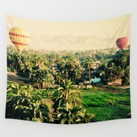 hot air balloons Wall Tapestries featuring Hot Air Balloons Before Mountains  by Limitless Design