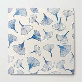 Ginko leaves blue Metal Print