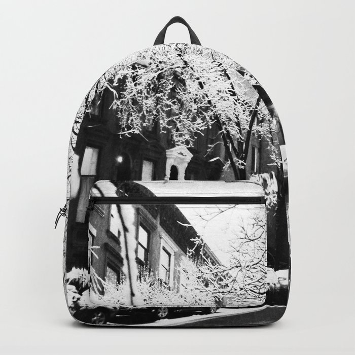 Black and White Photo of the Beautiful Brooklyn Heights covered in icy snow Backpack