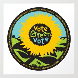 """Green Party Alameda County """"Vote Green"""" Art Print"""