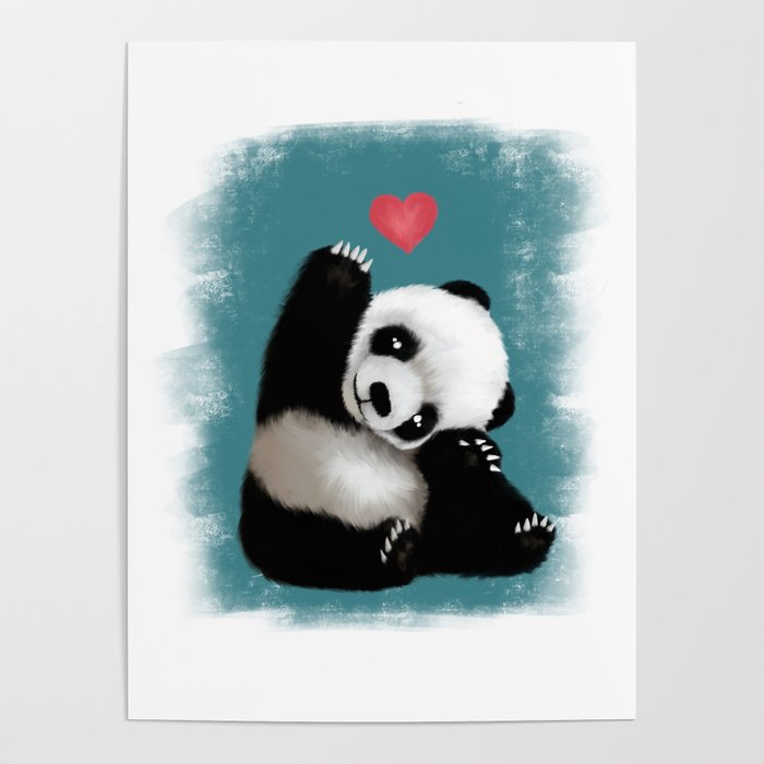 panda love color poster by shenyan society6