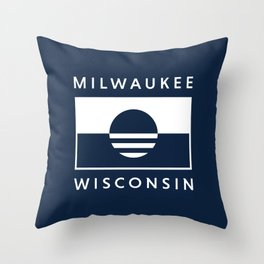 Milwaukee Wisconsin - Navy - People's Flag of Milwaukee Throw Pillow