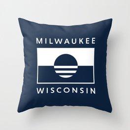 Milwaukee Wisconsin - Navy - People's Flag of Milwaukee Throw Pillow